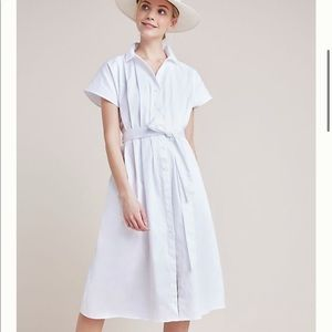 Anthropologie's Carla Pleated White Shirt Dress